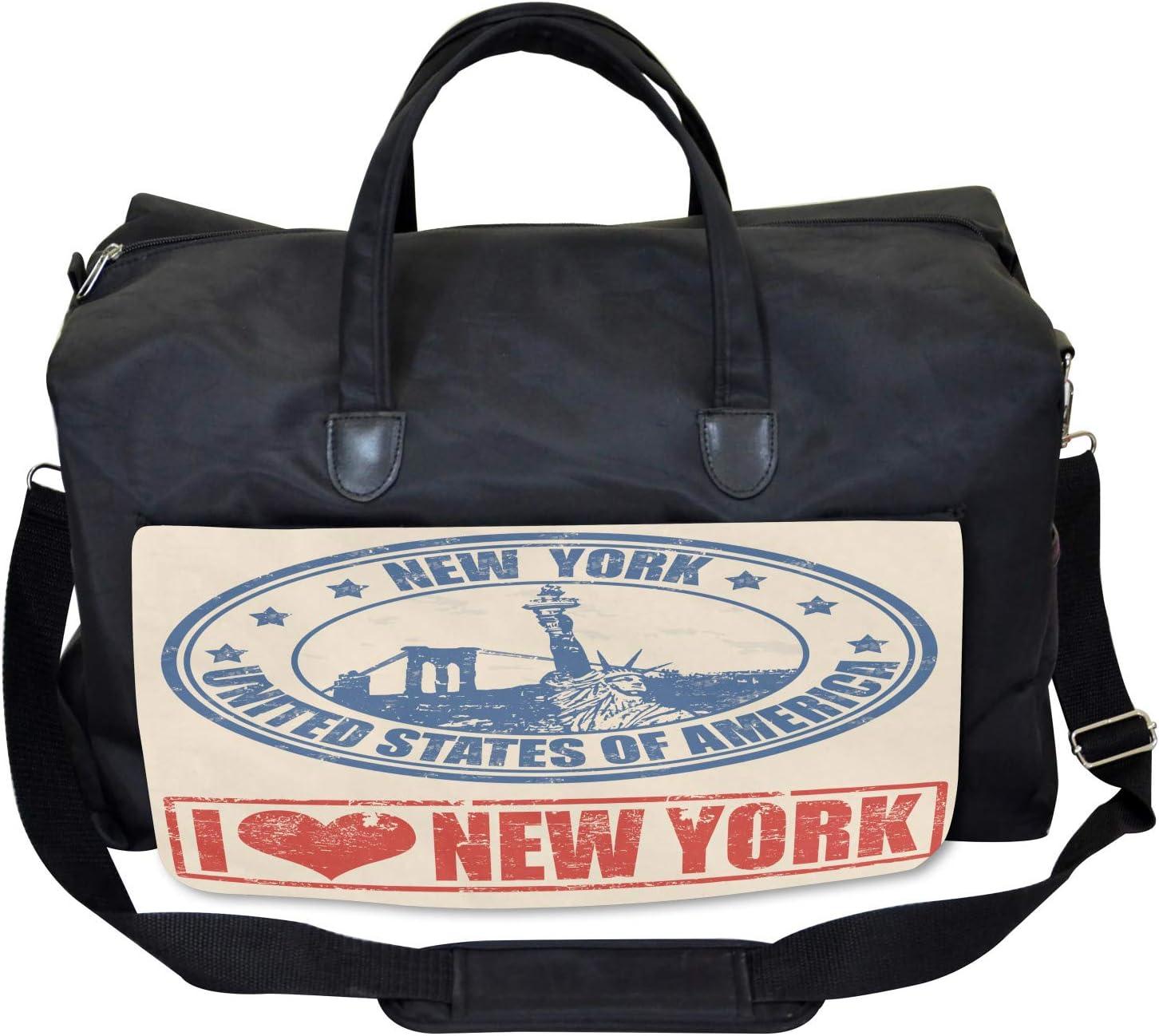 Love NYC in Red Blue Large Weekender Carry-on Ambesonne Vintage Gym Bag