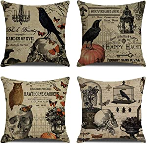 Halloween Throw Pillow Covers 18x18 Inch Set of 4 - Autumn Home Decorative Pillows Owl Pumpkin Bat Pillowcases for Couch Sofa Bed Breathable Linen Cushion Covers with Hidden Zipper(Crow & Skull)