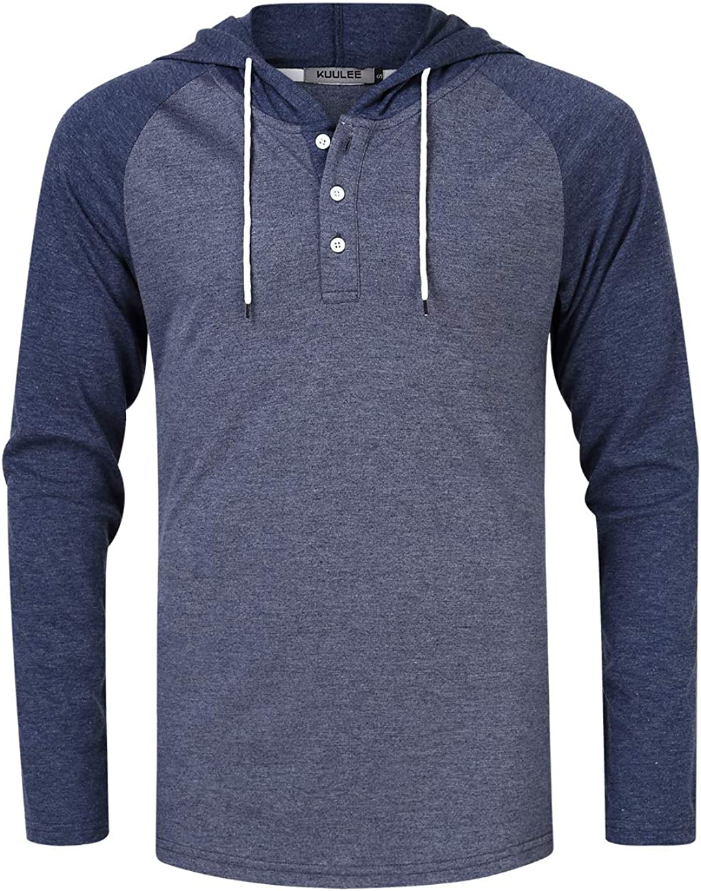 KUULEE Men's Long Sleeve Raglan Henley Jersey Hoodie Shirt