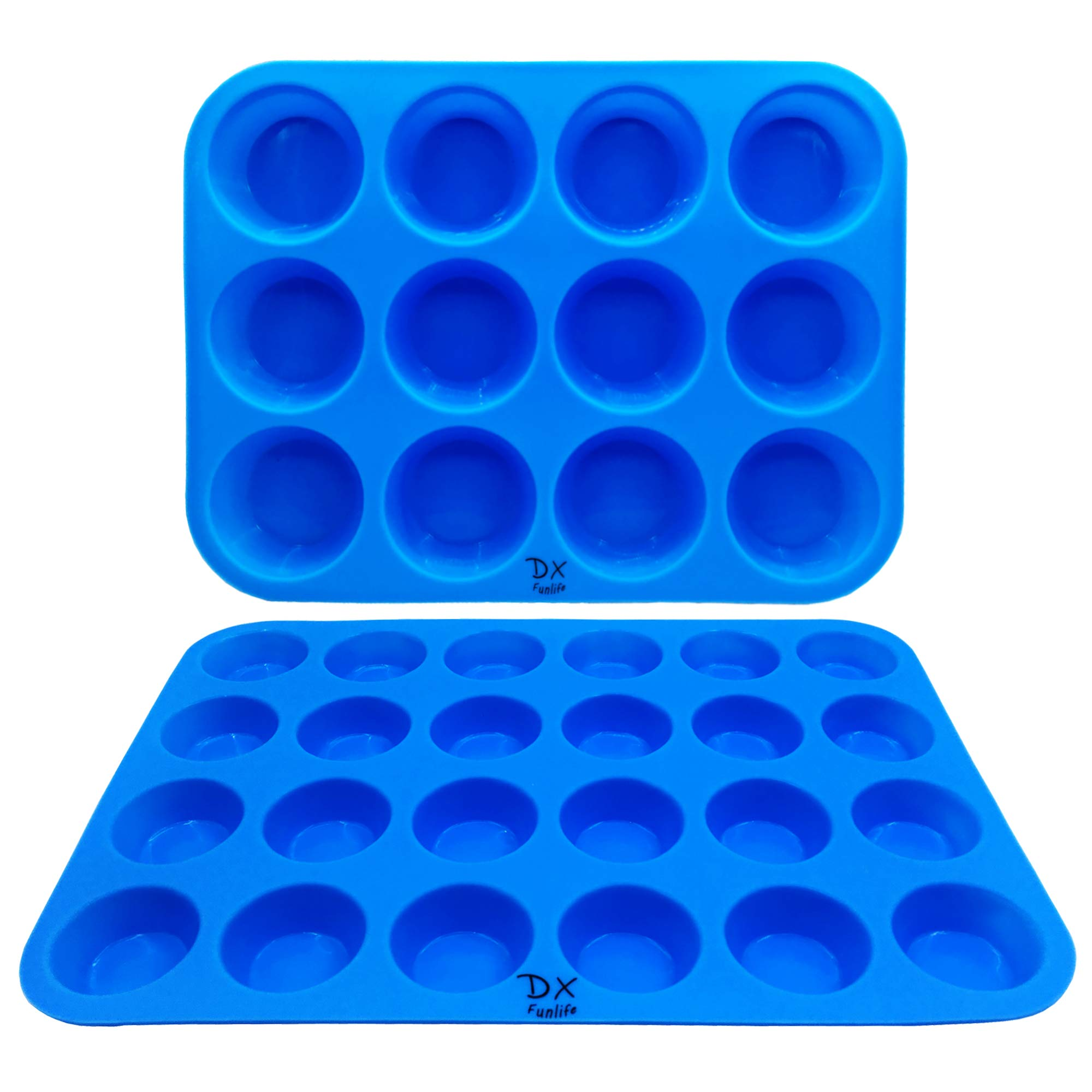 DX Funlife Silicone Muffin Pan Cupcake Baking Cups Cake Molds Cake Maker Bakeware Tray Non Stick Pans Easy To Clean (Large 12 Cups and Mini 24 Cups) Set of 2 Sky Blue