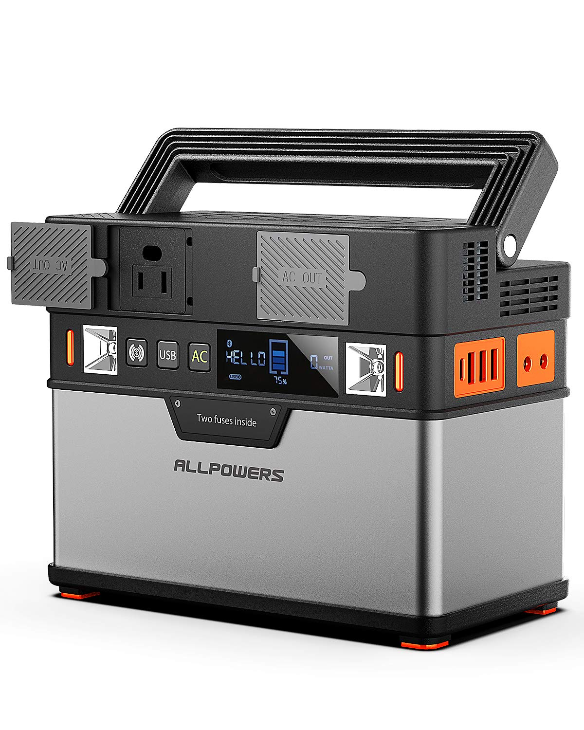 ALLPOWERS Portable Generator 372Wh/105000mAh Power Station Emergency Power Supply with DC/AC Inverter, PD Technology, Wireless Output, Charged by Solar Panel/Wall