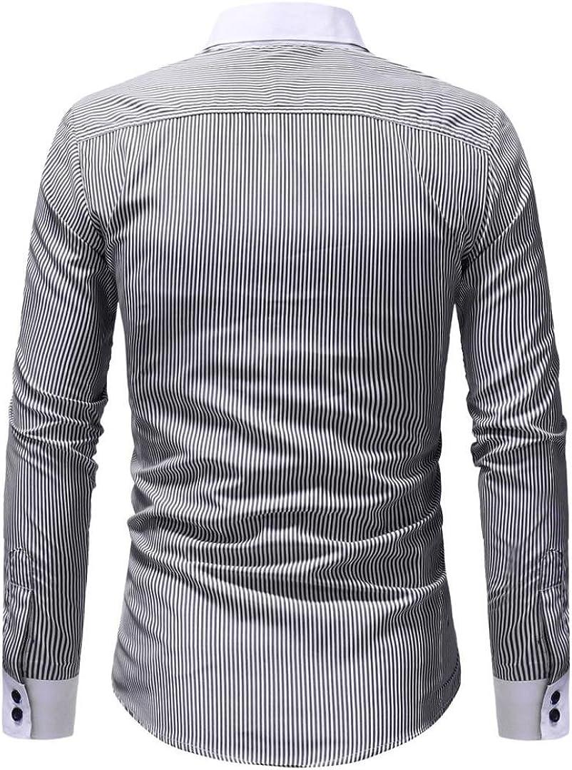 Business und Hochzeit ZIYOU Hemden Herren M/änner Gestreift Hemd Shirt Herbst Winter//Casual Langarm Streetwear Freizeithemden f/ür Freizeit