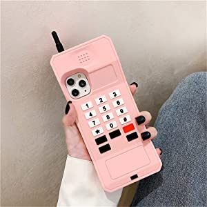 """Joyleop Pink Retro 3D Classic Shaped Case for iPhone 11 Pro Max 6.5"""", Cute Cartoon Cover, Kids Girls Soft Silicone Gel Rubber Character Cellular Phone Cases,Funny Unique Protector for iPhone11 Pro Max"""