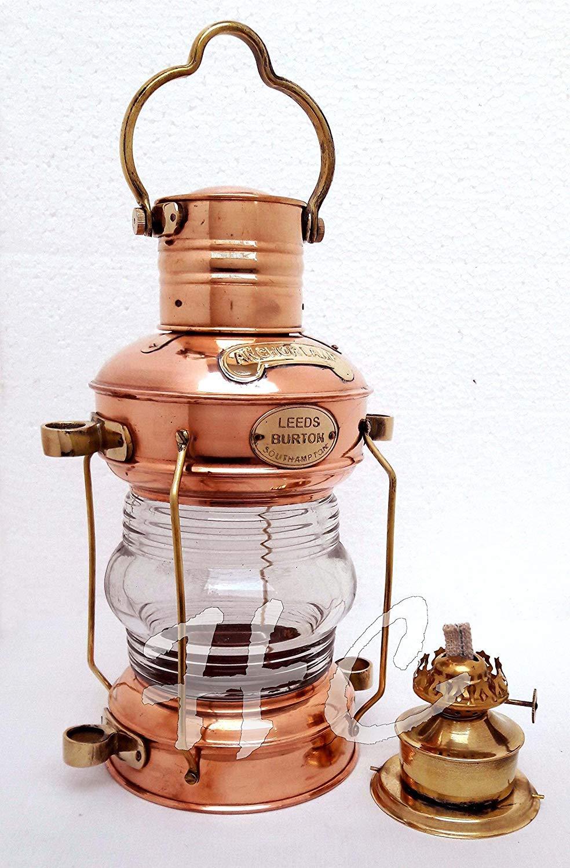 "Brass & Copper Anchor Oil Lamp Leeds Burton Nautical Maritime 14"" Ship Lantern"