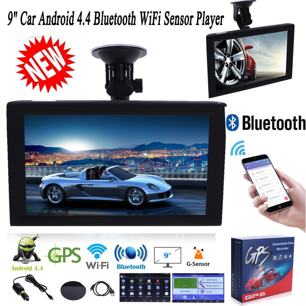 FidgetFidget Bluetooth Navigator GPS Car Truck 9' Touch Screen Android 4.4 WiFi Sensor Player