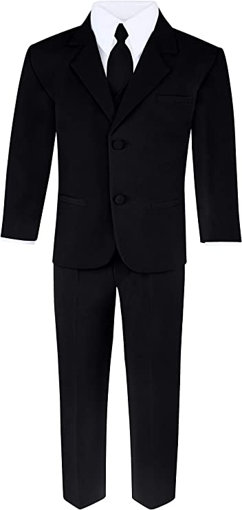 Boys 6-Piece Suit Set - Includes Suit Jacket, Dress Pants, Matching Vest, White Dress Shirt, Neck Tie & Bow Tie