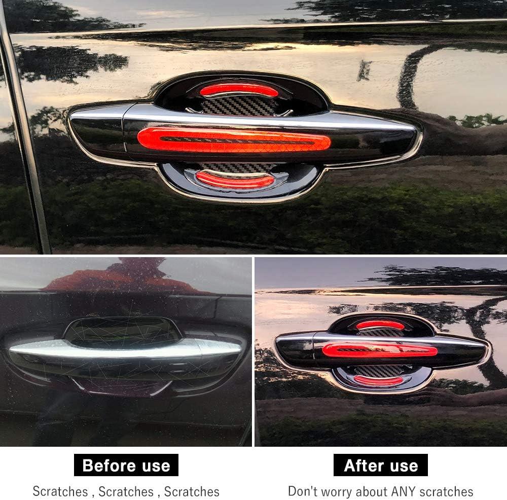 Red-8pcs LECART Car Door Cup Handle Paint Scratch Protector Sticker 3D Carbon Fiber Universal Auto Door Handle Scratch Protection Cover Guard Film Car Door Handle Safety Reflective Strips