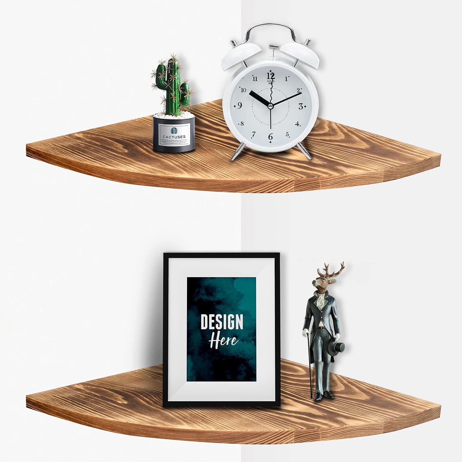 Corner Wall Shelves Décor Solid Wood Floating Corner Decorative Shelves for Wall 2 Tier Modern Rustic Wooden Display Wall Shelves Organizer for Bedroom Bathroom Kitchen Living Room Easy to Install