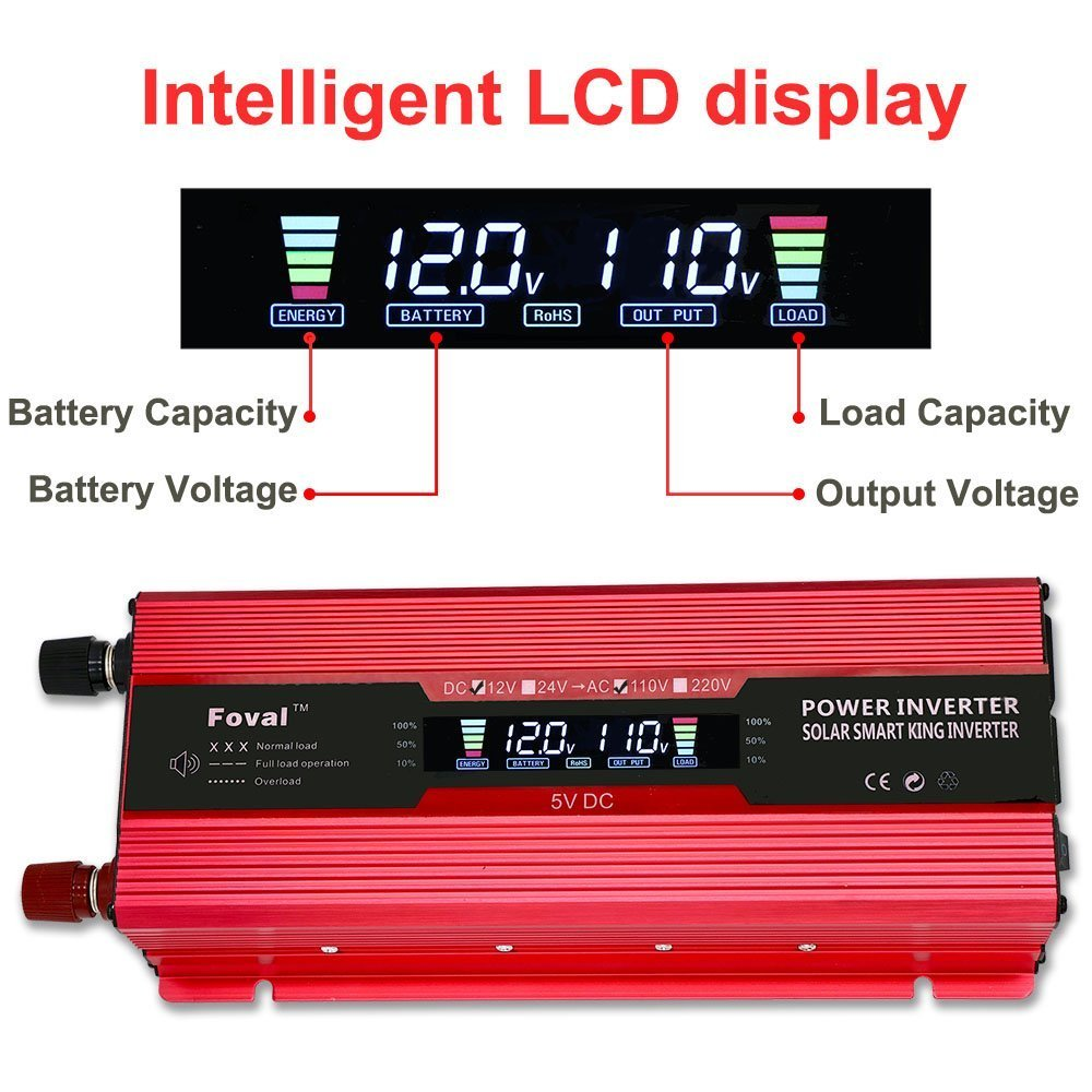 IpowerBingo 1000W 2000W Power Inverter Dual AC Outlets and Dual USB Charging Ports DC 12V to 110V AC Car Converter with Digital Display