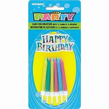 Espiral velas de cumpleaños con los titulares y feliz cumpleaños decoración de la torta, Set de 25