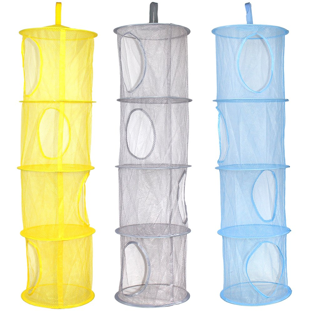 KisSealed 3 Pcs Hanging Mesh Space Foldable 4 Compartments Storage Basket Saver Bags Organizer for Travel,Kids Room,Bathroom and More 4-C