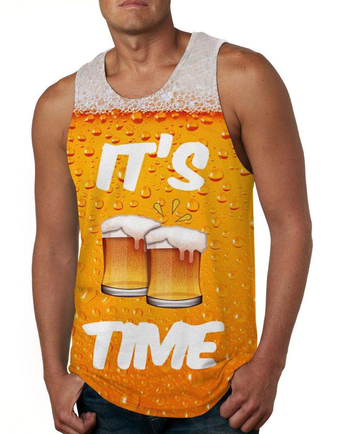 Cutemefy Mens Funny Printed It's Time Beer Sleeveless Vest Tank Tops Slim Fit Muscle Shirt