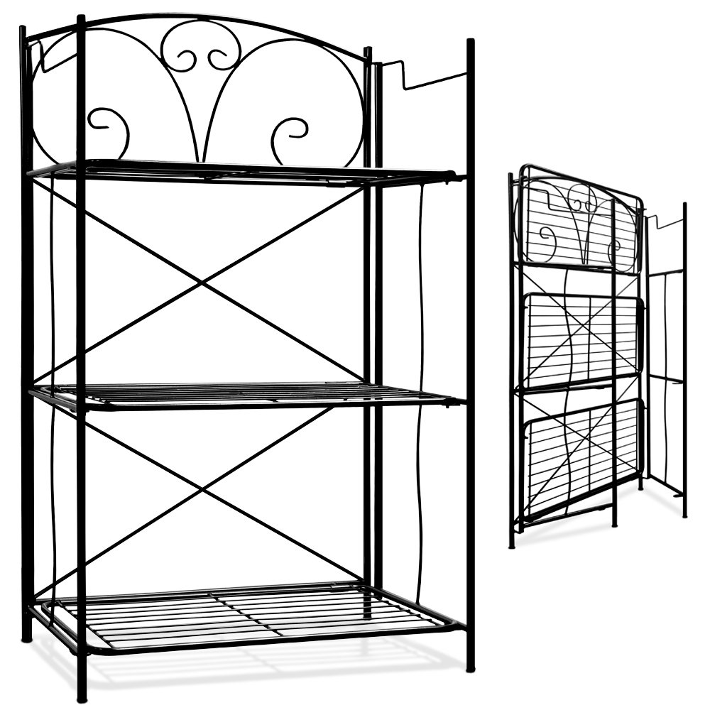 Deuba Metal Wall Shelf Shelving Unit Standing Shelf Bookcase Outdoor Indoor Kitchen Storage Rack