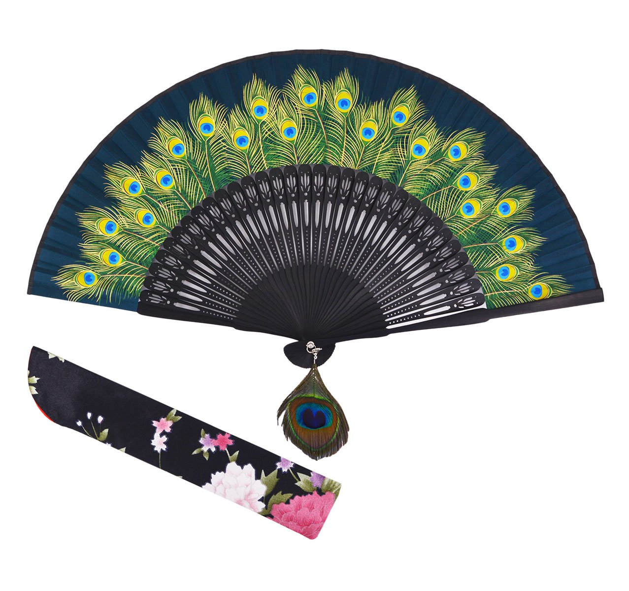 Amajiji 8.27'' Peacock Chinease/Japanese Hand Held Silk Folding Fan with Bamboo Frame,Hollow Carve Patterns Bamboo Frame Women Hand Folding Fans Hand Fan Gift fan Craft fan Folding Fan (Green) by Amajiji