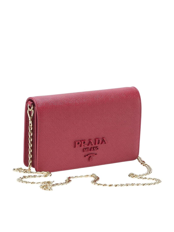 Prada Mujer 1Bp012nzvf068z Rojo Cuero Clutch: Amazon.es: Ropa y accesorios