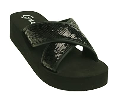 7a9ffbbe0 Grazie by Volatile Farout Women s Sequined Slide Wedge Sandal Shoe Black  Size 6