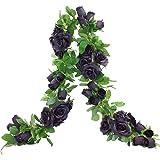 Etistta 2 PCS 6.5 Ft. Artificial Black Rose Vine for Halloween Decor, Hanging Black Silk Flower Garland for Outdoor Home…