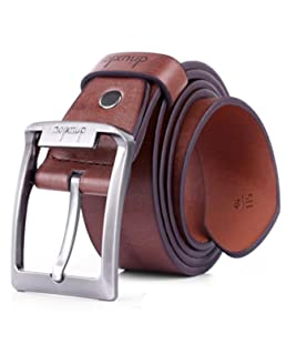 Ceintures Pour Hommes - Ceinture RéGlable Pour Jeans Et Pantalons DéContractéS, Mens Leather Single Prong Belt Business Casual Dress Metal Buckle Bw (A)