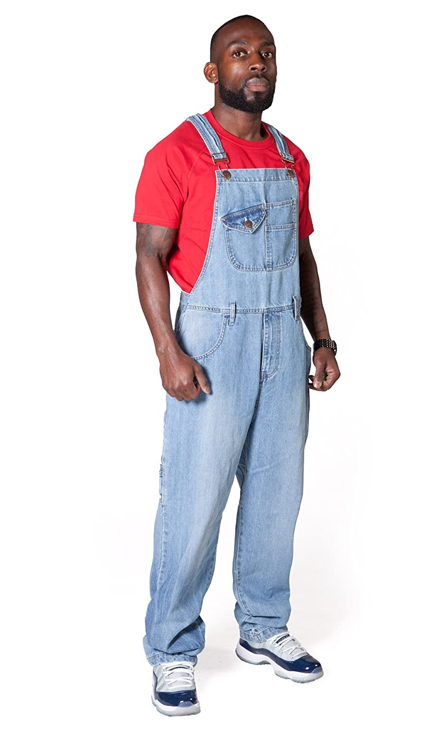 Uskees Stevie Loose Fit Mens Dungarees - Pale Wash Blue Denim Bib Overalls STEVIEPW