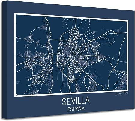 Foto Canvas Cuadro Mapa Sevilla España en Lienzo Canvas Impreso Decorativo | Cuadros Modernos: Amazon.es: Hogar