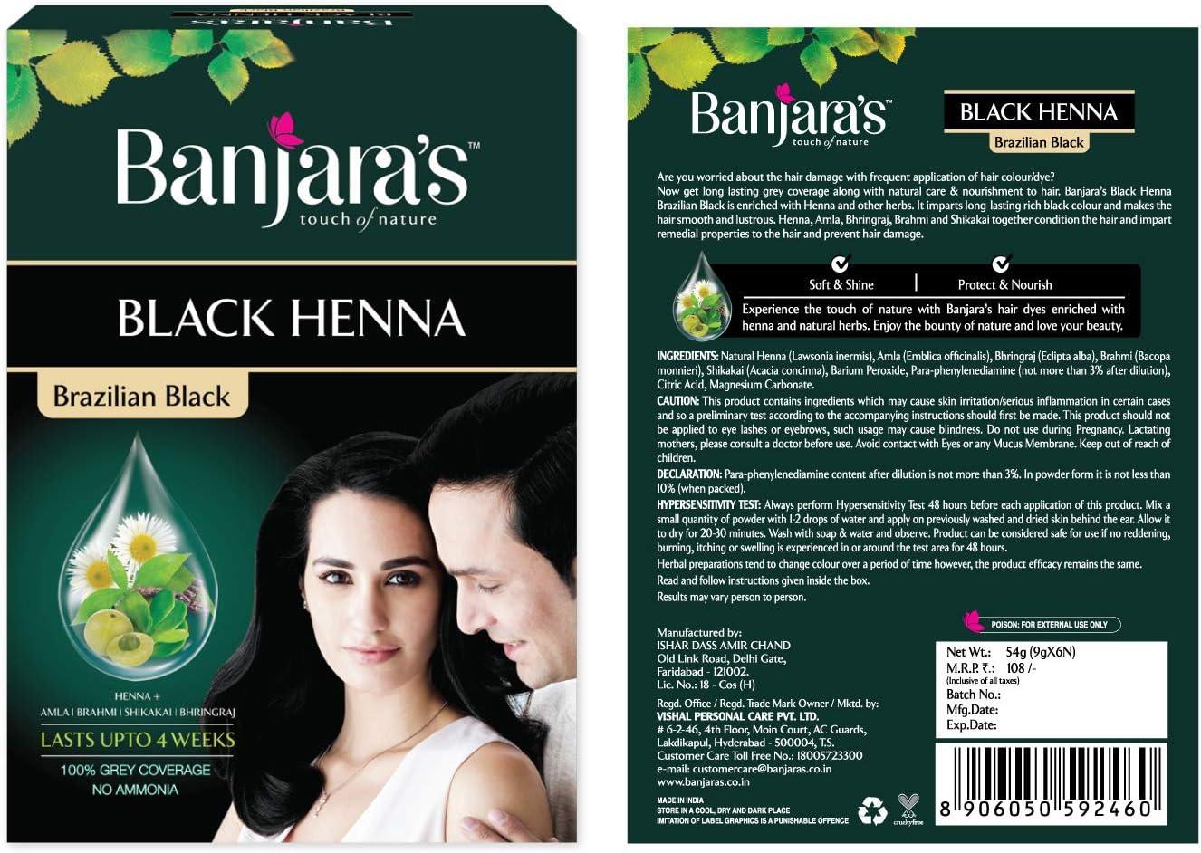 Tinte para el cabello en polvo de henna negro brasileño 100% cobertura de gris-sin amoníaco