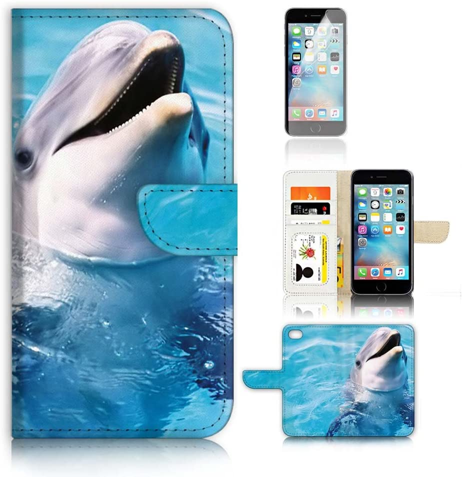 ( For iPhone 6 6S 4.7') Flip Wallet Case Cover and Screen Protector Bundle A8204 Dolphin