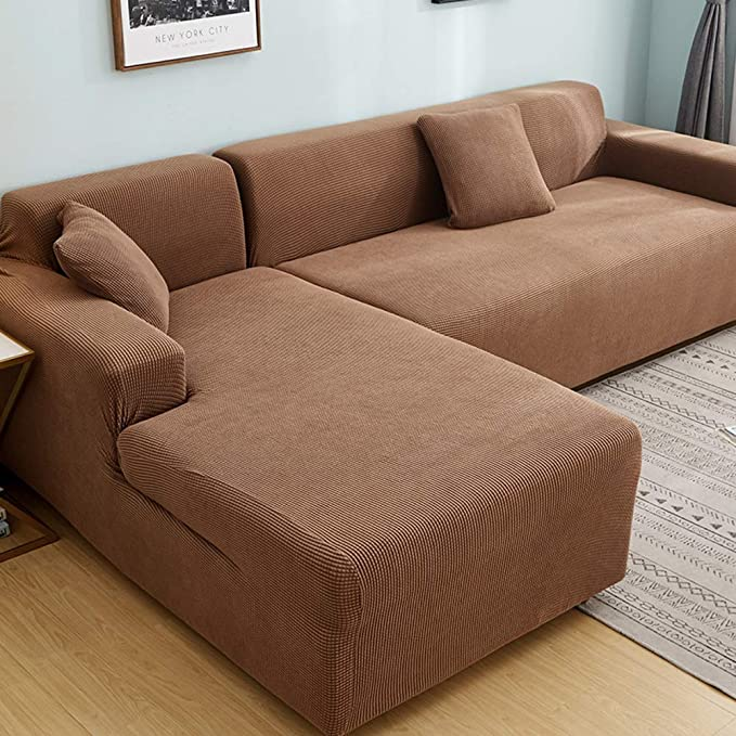 Polyester Stretch Sectional Sofa Slipcovers, Universal Anti-Slip Sofa Covers Furniture Protector for 1 2 3 4 Food L-Shape Couch-Brown (2 Seats/loveseats)