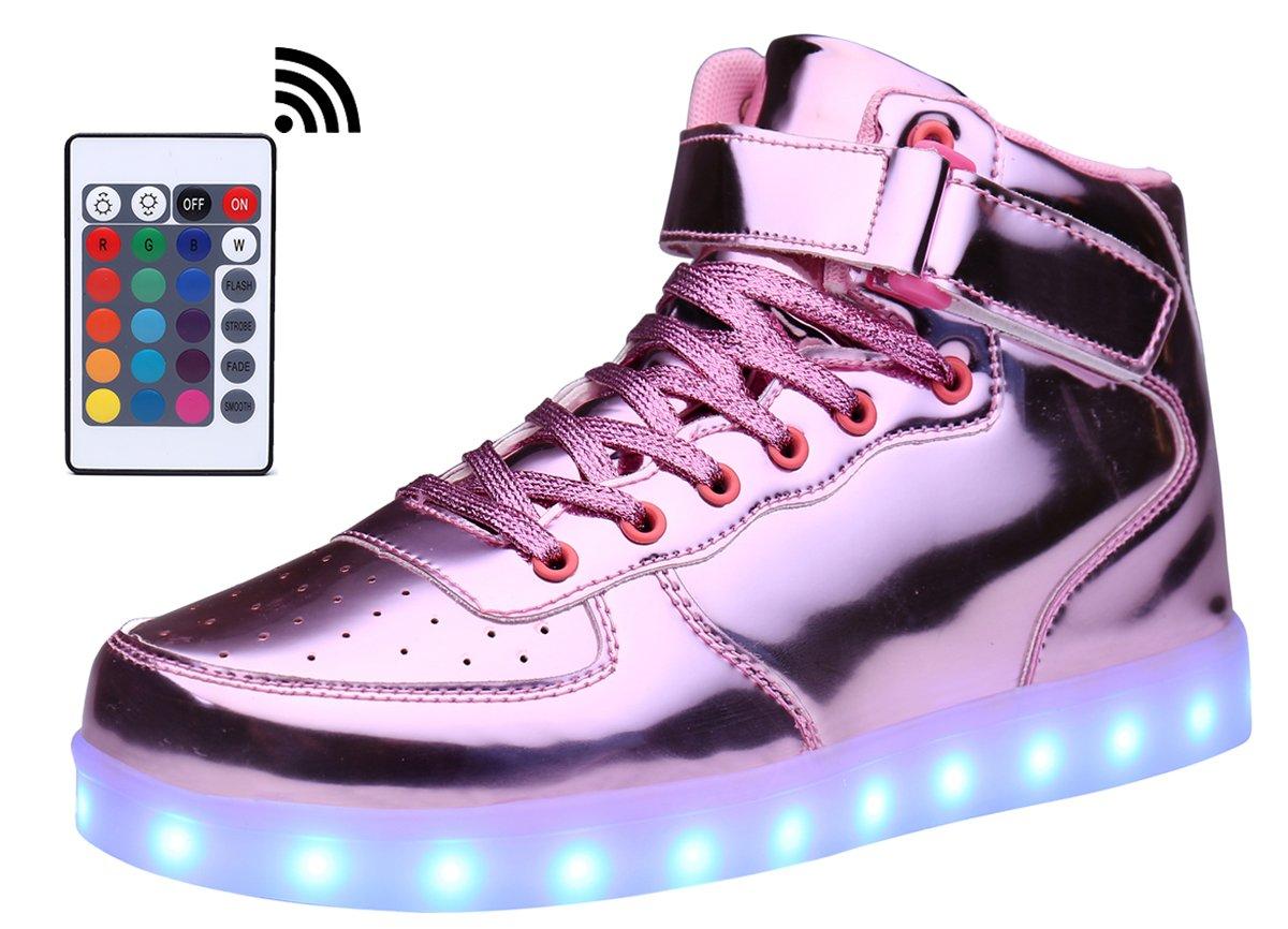 MOHEM ShinyNight High Top LED Shoes Light Up USB Charging Flashing Sneakers(1687003ShiningPink42)