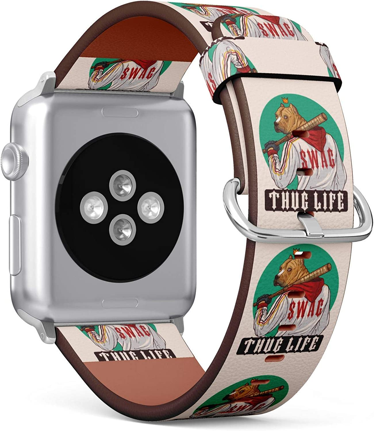 (Thug Life Swag Brutal Pitbull Gangster with Baseball bat) Patterned Leather Wristband Strap for Apple Watch Series 4/3/2/1 gen,Replacement for iWatch 38mm / 40mm Bands