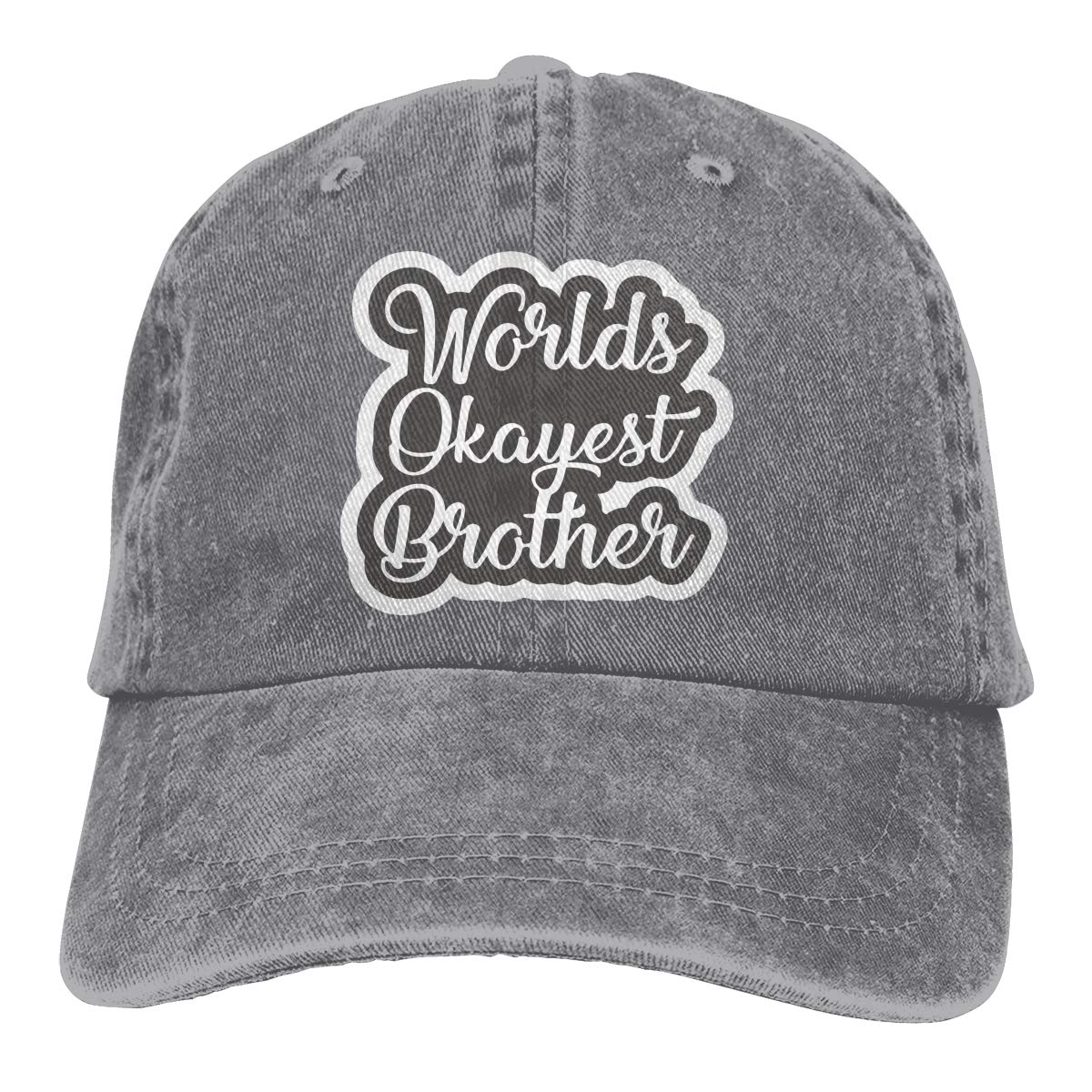 Worlds Okayest Brother Adult Personalize Cowboy Outdoor Sports Hat Adjustable Baseball Cap