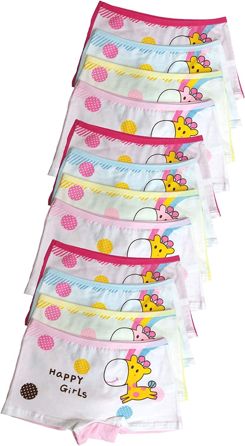 ussense 12 Pack Little Girls Pants Shorts Knickers Cotton Boyshorts Lovely Boxers Underwear Size 2-12 Years