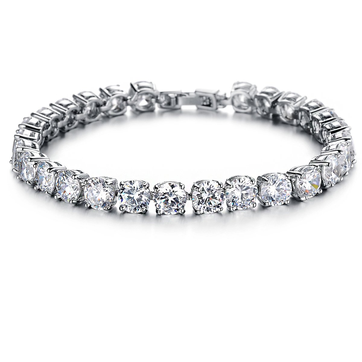 OPK Jewelry Platinum Plated Women Tennis Bracelet with Clear Cubic Zirconia DS928-White