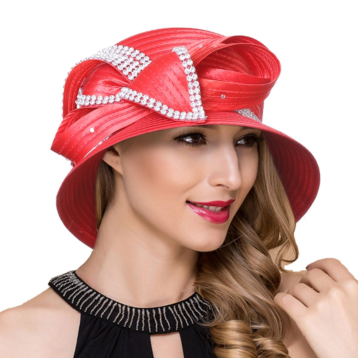 Women Kentucky Derby Church Dress Cloche Hat Fascinator Floral Tea Party Wedding Bucket Hat S052 (SD707-Red)