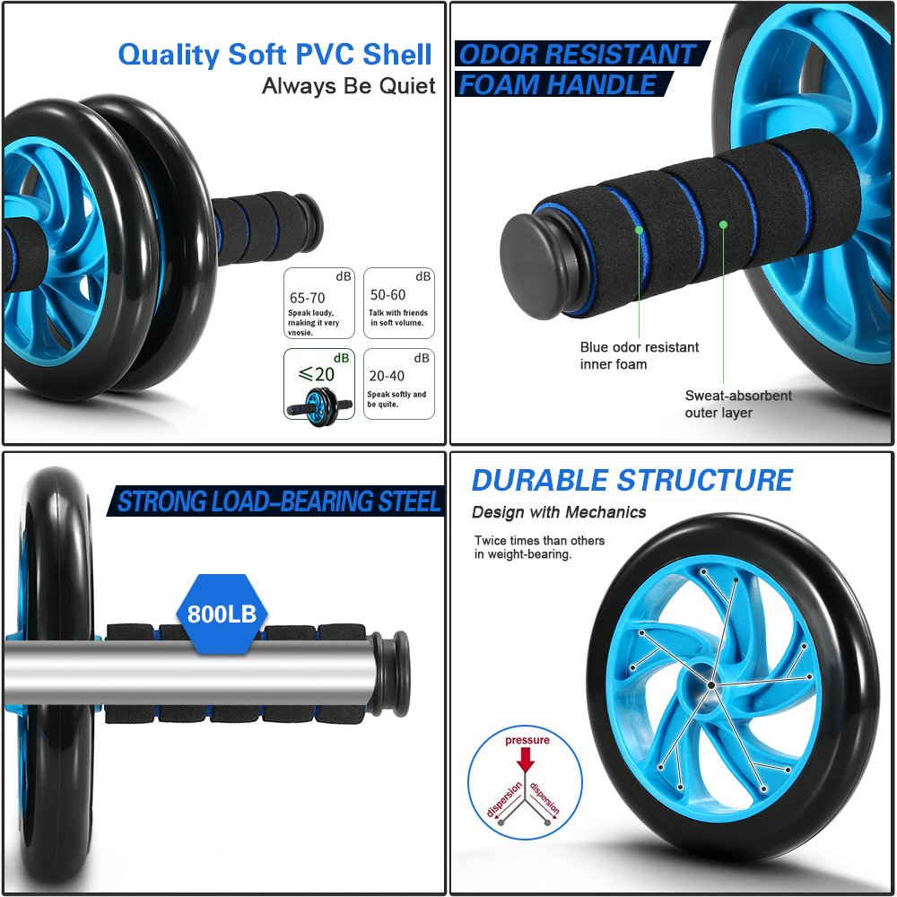 TOMSHOO 5-in-1 AB Wheel Roller Kit with Push-Up Bar