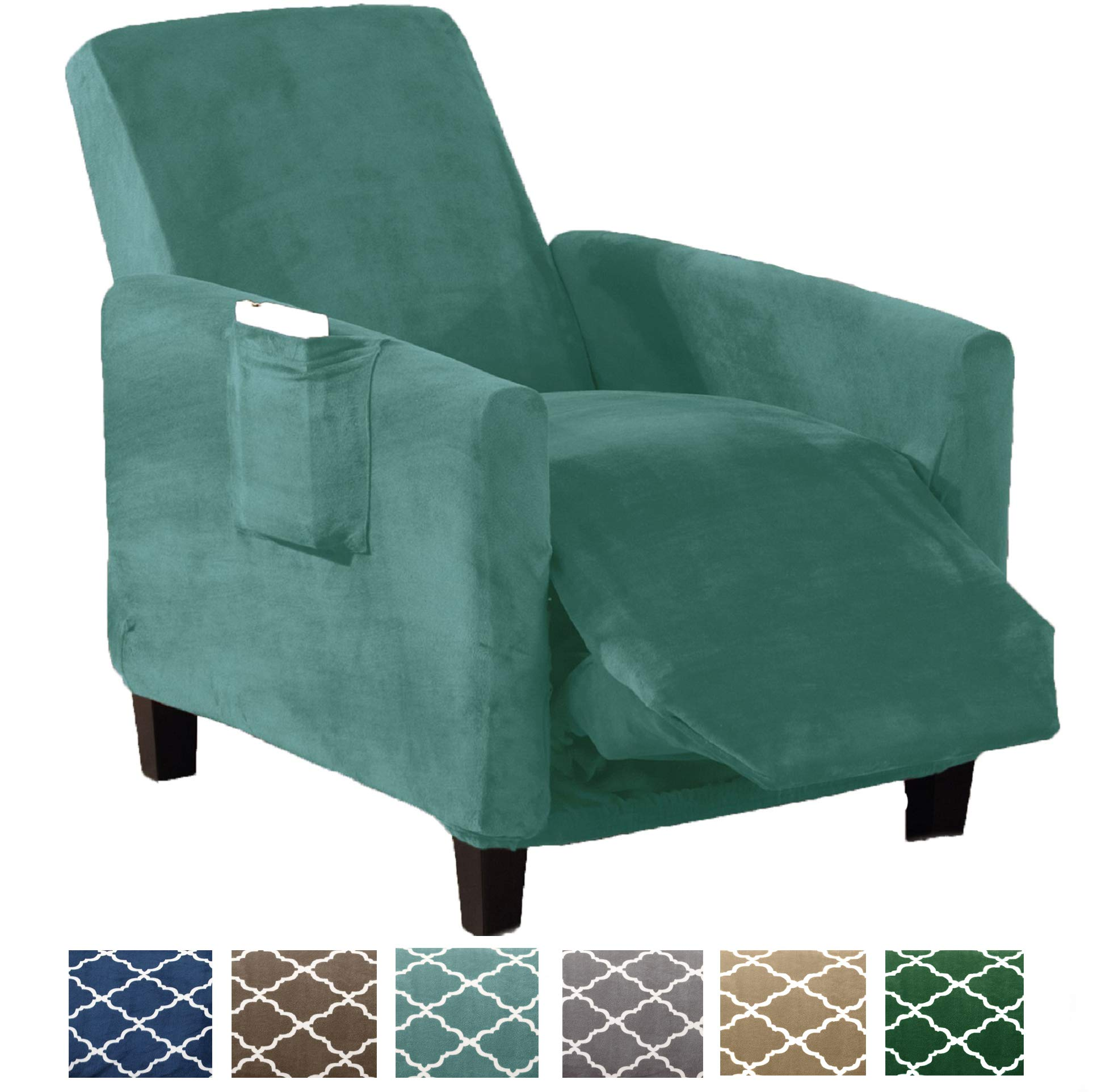 Great Bay Home Form Fit, Slip Resistant, Stylish Furniture Shield/Protector Featuring Velvet Plush Fabric Magnolia Collection Strapless Slipcover (Recliner, Aqua - Solid)
