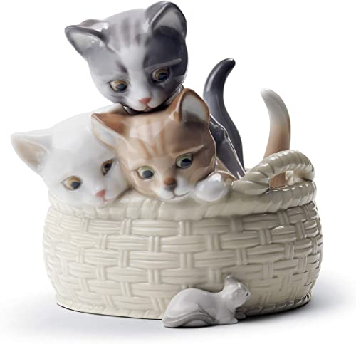 LLADR Curious Kittens Figurine. Porcelain Cat Figure.