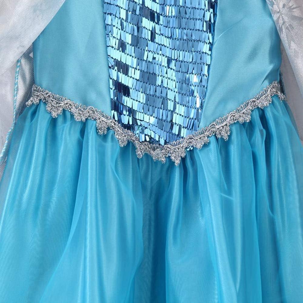 Deguisement pour Fille Princesse Elsa Anna La Belle et la b/ête Aurore Raiponce Jasmine Cendrillon Moana et Elena Halloween No/ël Cosplay Costume FINDPITAYA Lot 2 Robes Reine des neiges 2