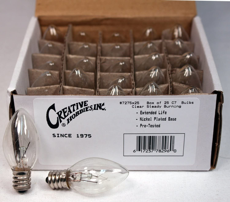 Longer Life 130 Volt 7 Watt - 7C7//CL 25 Pack Creative Hobbies 3228x25 E12 Candelabra Base c7 Replacement Bulbs Incandescent Light Bulb C7 Night Light Clear 25 Pack
