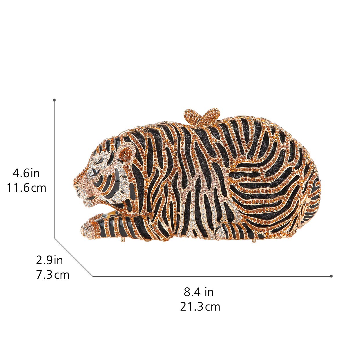 Bonjanvye Big Tiger Clutch Purse Bling Studded Glitter ...