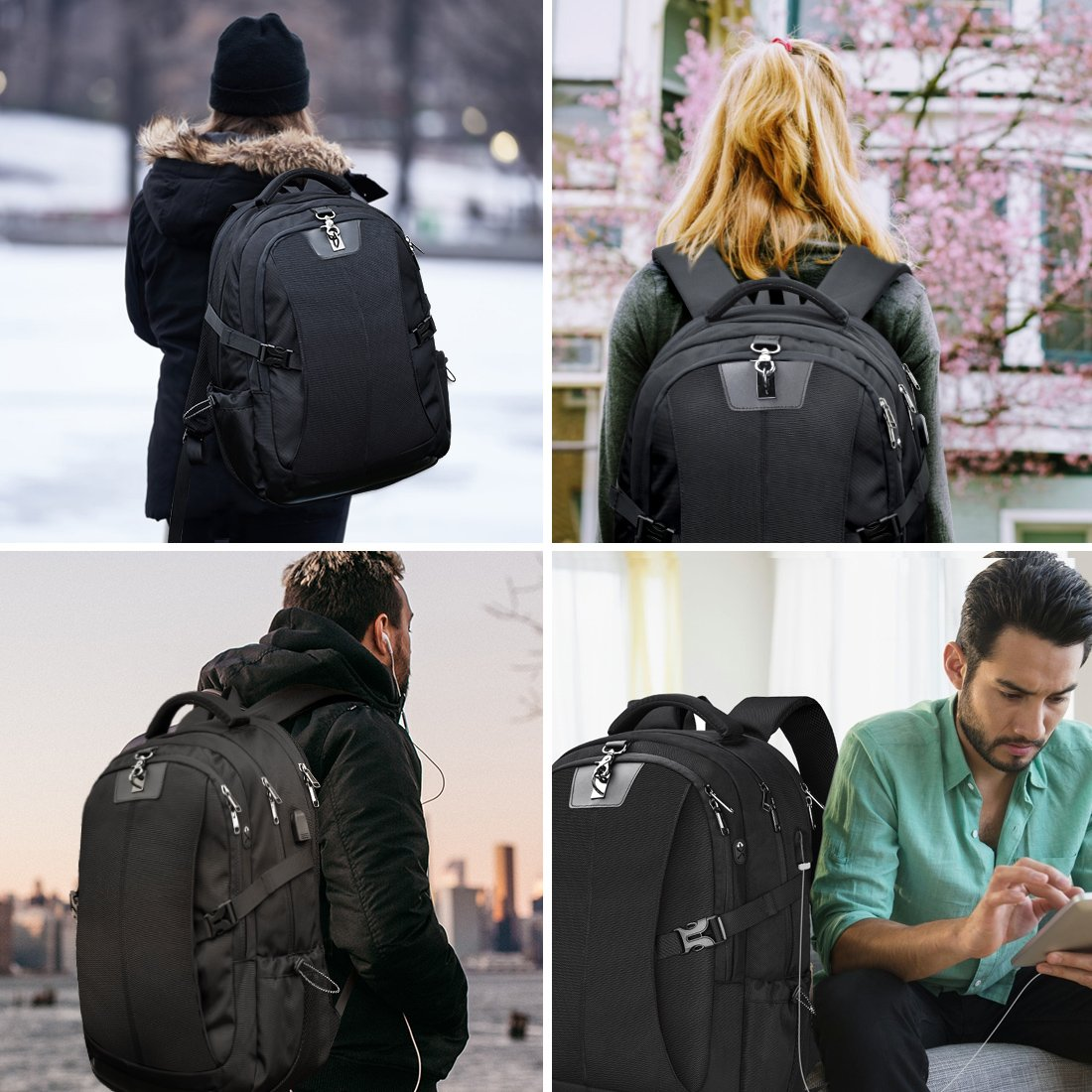 Laptop Backpack 17.3 Inch Travel Anti-theft Waterproof School Backpack Business College Large Capacity Gaming Laptop Backpacks USB Charging Port for Men Women Black by NEWHEY (Image #6)