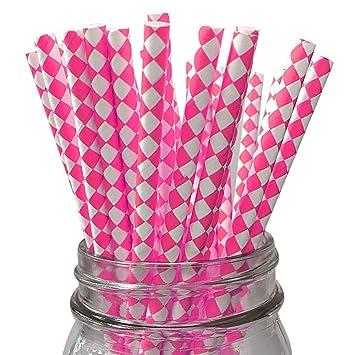 Caliente rosa/blanco de arlequín Juego de 100 Count Tamaño 7 3/4 (Harlequin diseño papel pajita de incienso palos para Cake Pop moldes ...