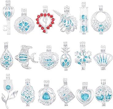 """K913 perles cage Globe Charme Médaillon Diffuseur collier acier 18/"""" Chaîne"""