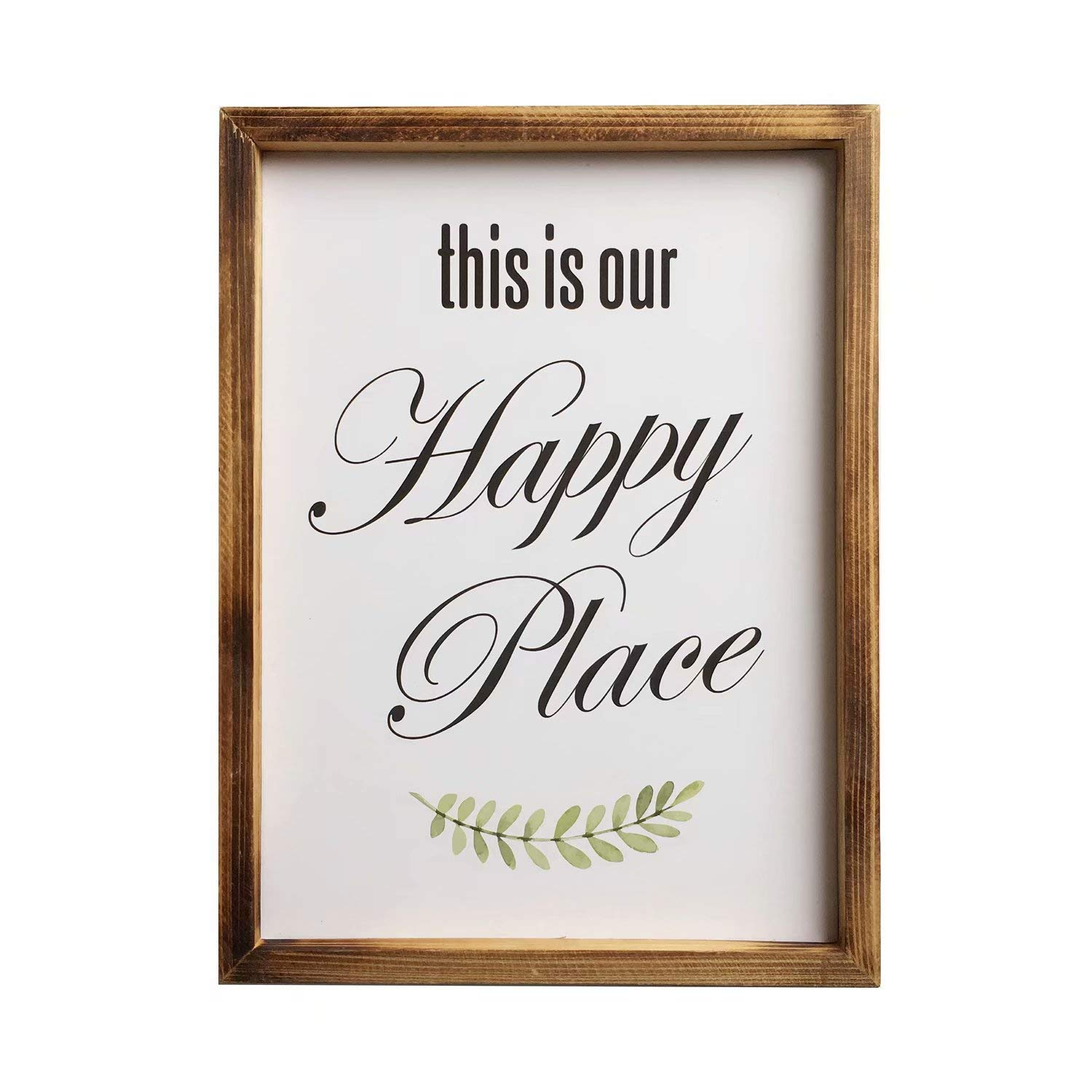 Jessac Distressed Wood Framed Farmhouse Décor Signs 12 X 16 inch Hanging Rustic Wall Art with Inspirational Quote for Home, Kitchen, Bathroom - This is Our Happy Place