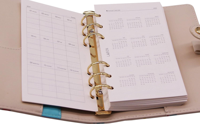 Labons 6 Runden Ring Binder Planer Hardcover MIT Monatlich Woche T/äglich Zeitplan A6, GrassGr/ün 2019 2020 Kalender//Telefon /& Adresse//Pers/önliche Memo 240 Seiten Hochwertige Dicke Papier