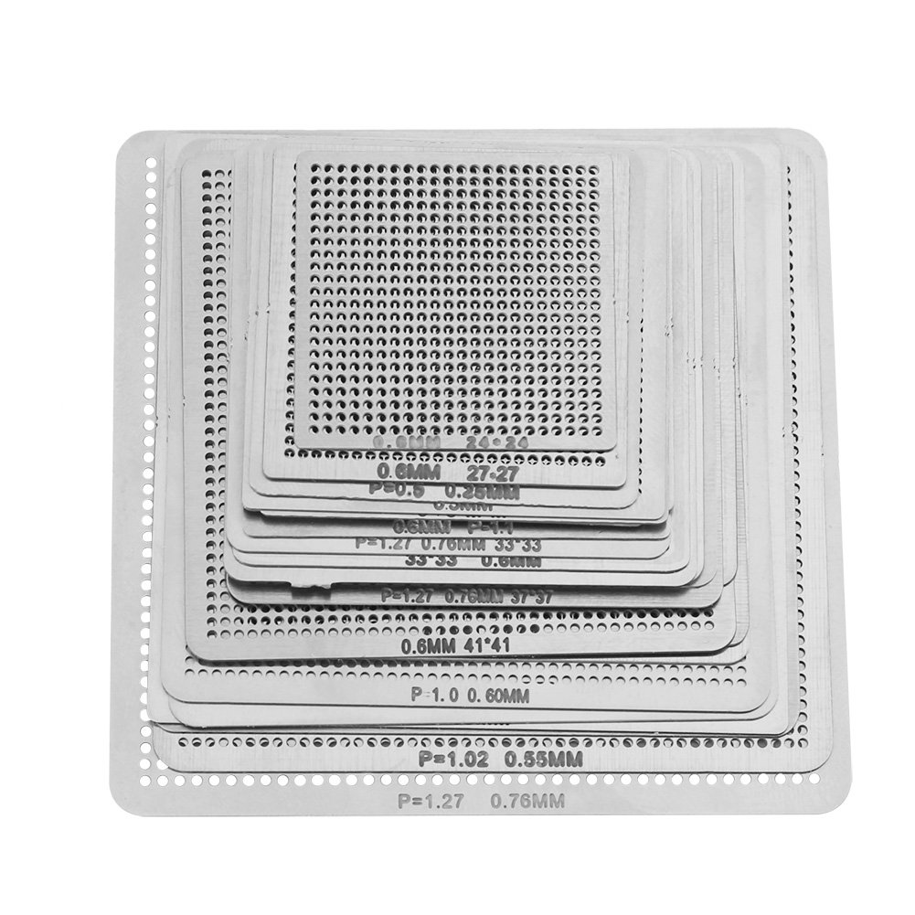 27Pcs Universal Directly Heat BGA Reballing Net Stencils Templates For Soldering Accessories Walfront CMSBNAN01725