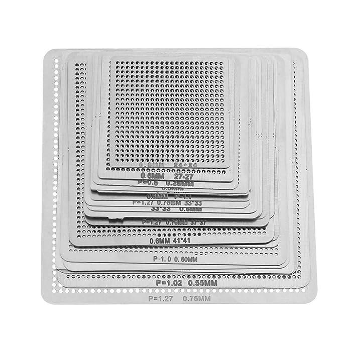 27 STÜCKE Universal BGA Reball Reballing Rework Net Schablone Direkt Wärme Kit