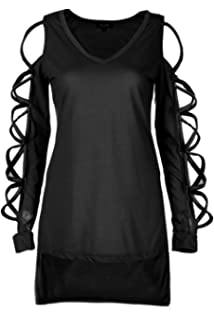 391156a3efcd9 ZG DD Young Women Boatneck Lace Up Long Sleeve Shirt Club Sexy Hollow  Sleeve Shirt