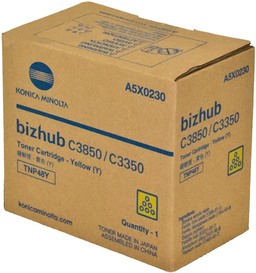 Konica Minolta TNP48Y Bizhub C3350 C3850 Toner Cartridge Yellow in Retail Packaging