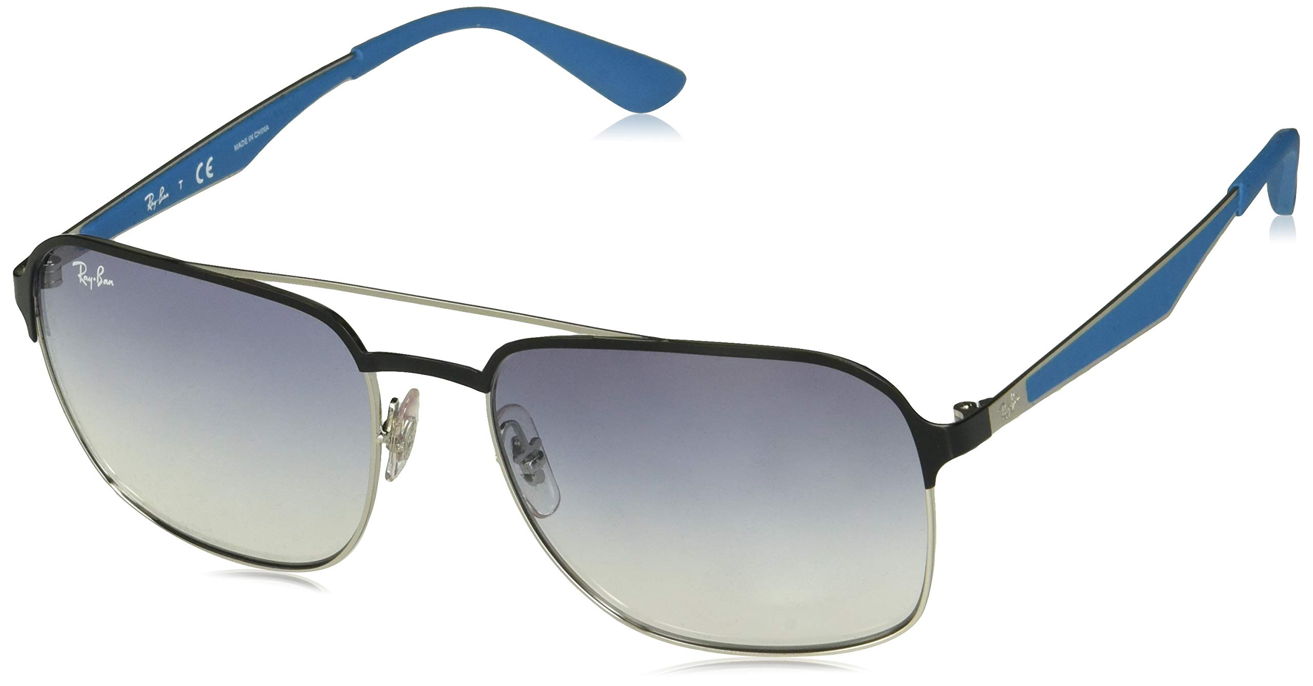 Ray-Ban RB3570 Square Metal Sunglasses, Black on Silver/Clear Gradient Light Blue, 58 mm