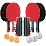 Sportout 4 Player Ping Pong Paddle Set, Table Tennis Paddle Set with Retractable Net, Balls and Portable Case, Perfect…